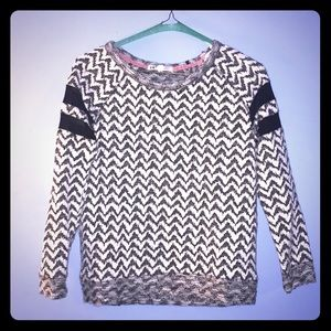 Patterned sweater w/black sheer stripes on sleeves